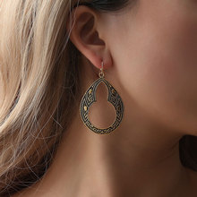 2018 Bohemia Ational Wind 100% Alloy Gold Earrings For Women Vintage Hollow Out Carved Pattern Gourd Drop Earrings QW-49 цена 2017