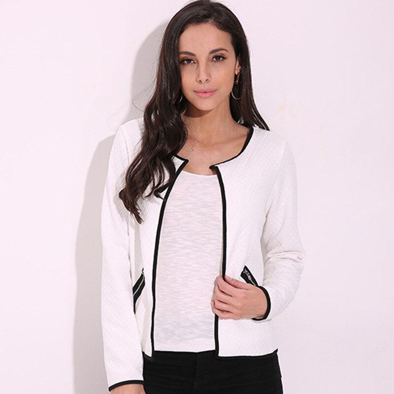 2019 Spring Autumn Women Basic Jacket Long Sleeve Zipper Pockets Slim Short Cardigan Coat Casual Outwear Plus Size