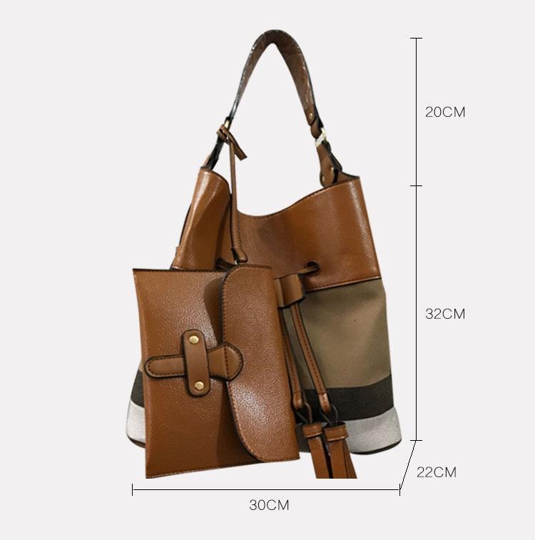 7aa9194892 AMONCHY Classic Plaid Women Handbags Branded Bucket Bag Colorful Canvas  Stripe Lady Shoulder Bag String Bag Purse With Logo 2018