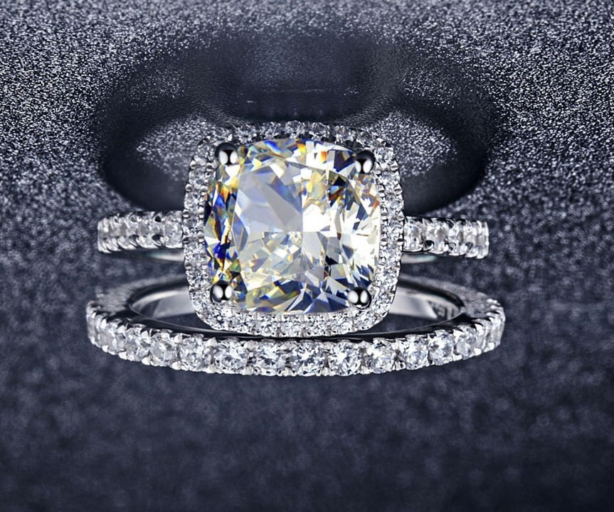 3 55ct Cushion Cut Synthetic Diamonds Engagement Rings With Band
