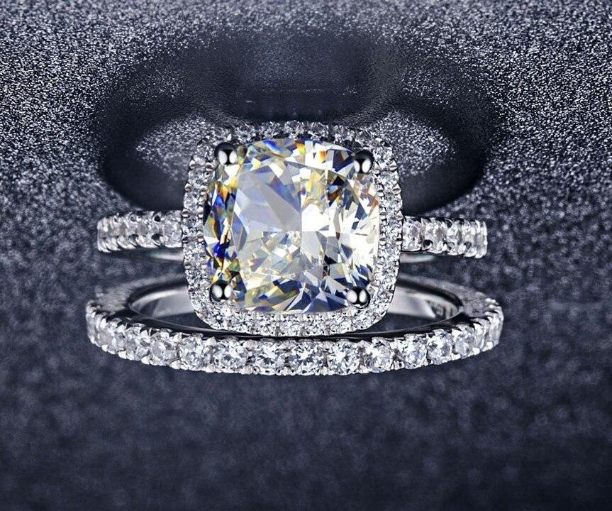 3.55ct 쿠션 컷 합성 다이아몬드 약혼 반지 밴드 반지 정품 솔리드 스털링 실버 결혼 반지-에서약혼 반지부터 쥬얼리 및 액세서리 의  그룹 1