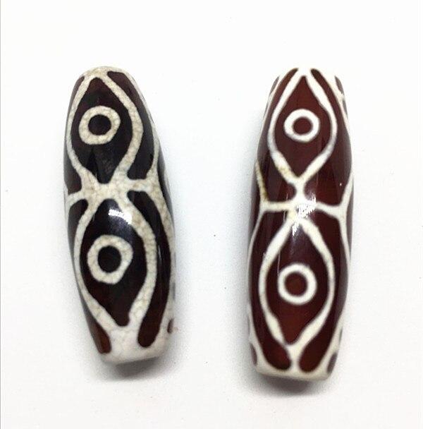 DYI Jewelry 13mm*40mm Pure Natural Stone Tibetan Beads Pendant Dragon Eyes Pattern Best Offer