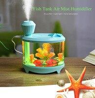 Portable 460ml Fish Tank USB Humidifiers LED Light Air Ultrasonic Humidifier Essential Oil Aroma Diffuser Mist