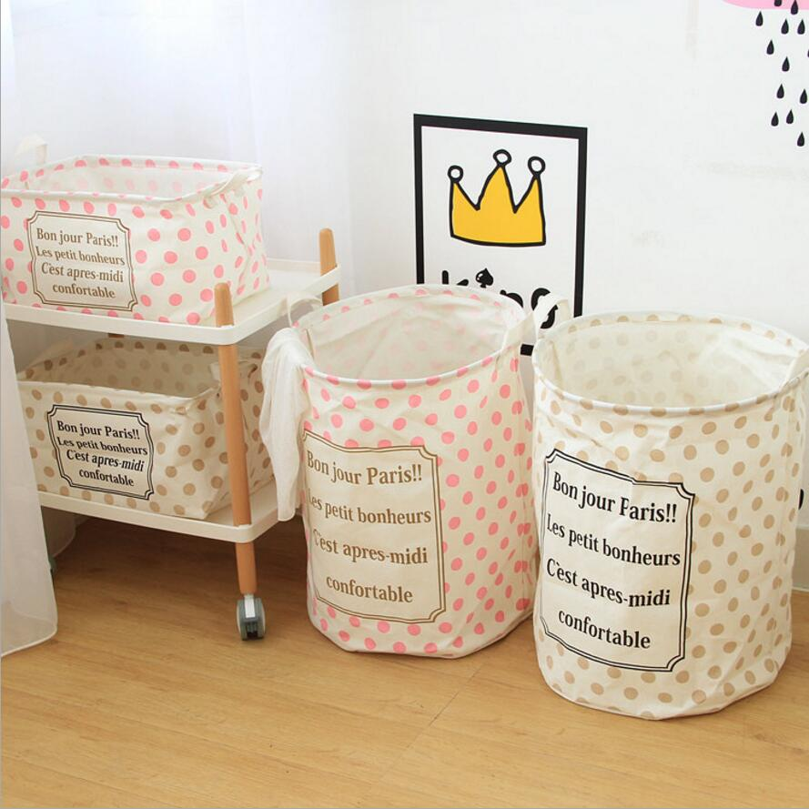 Nordic style Dots Large Laundry Hamper fold waterproof of Clothes <font><b>Storage</b></font> <font><b>Baskets</b></font> Home clothes barrel kids toy <font><b>Storage</b></font> barrels