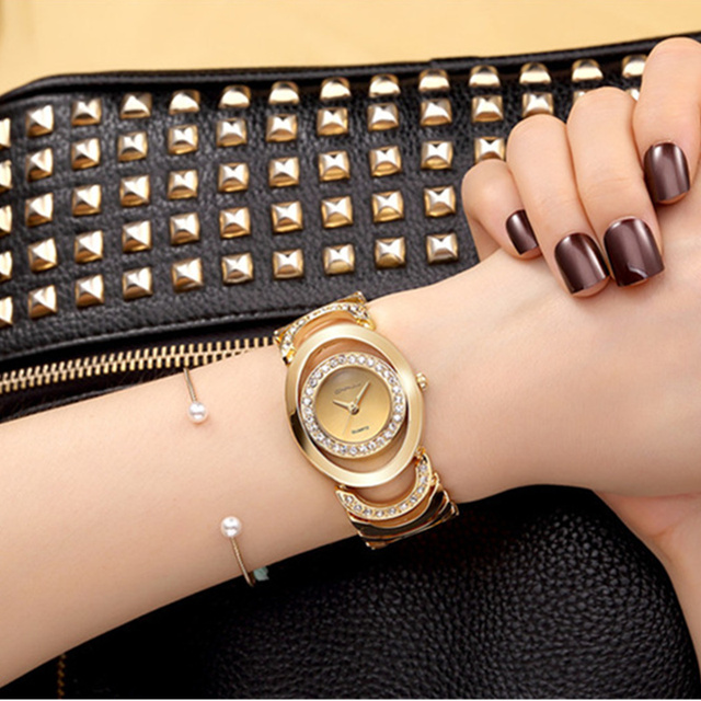 CRRJU Luxury Women Watch Top Brand Fashion Silver Gold Rose Gold Bracelet Watche