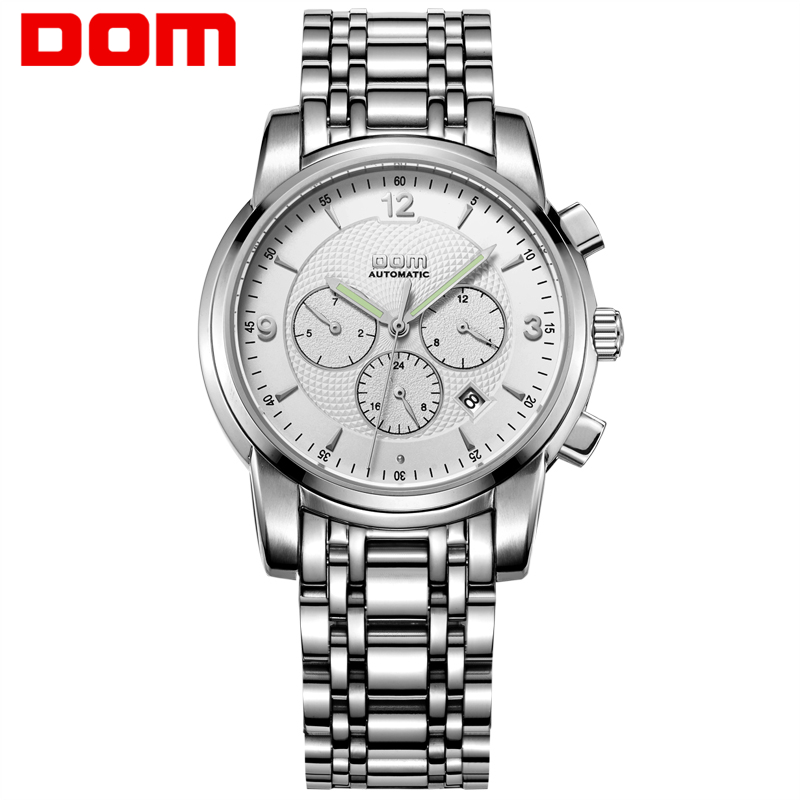 Men watches DOM Mechanical Stainless Steel Business design watch of man Top Luxury Sport waterproof Automatic male Reloj M-813