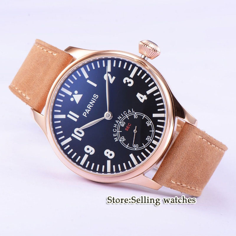 44mm parnis Rose Gold case black dial big 6498 movement hand winding mens watch цена и фото