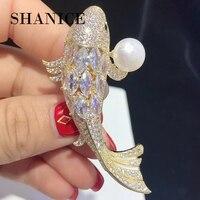 SHANICE Luxurious Gold Fish Full Crystal Cubic Zirconia Brooches Trendy Plant pearl brooch Big pins Hyperbole Ethnic