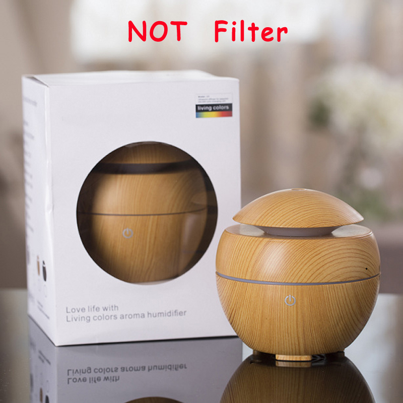 Not filter Mini Ultrasonic Humidifier USB essential oil diffuser LED Light Wood Aroma Diffuser Air Purifier Aromatherapy
