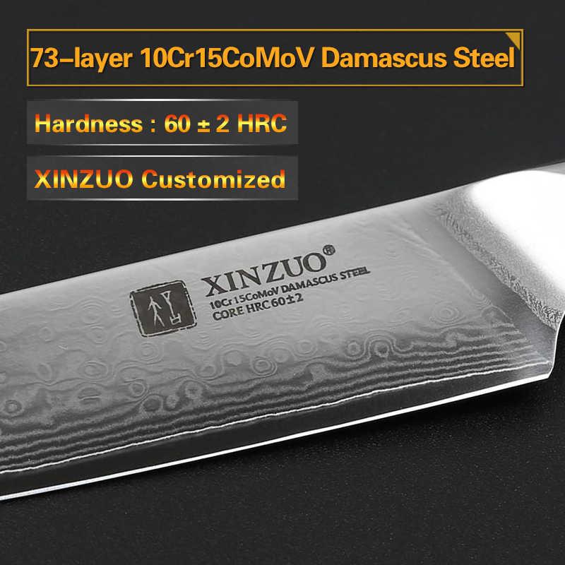 XINZUO 5 ''นิ้วมีดสเต็กสูงคาร์บอน Japanses ดามัสกัสสแตนเลส Rosewood Handle คุณภาพสูงบาร์บีคิวครัวเครื่องมือ