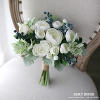 Artificial white tea rose bridal wedding bouquet, fake flowers berry bouquet bride bouquets wedding bridal supplies