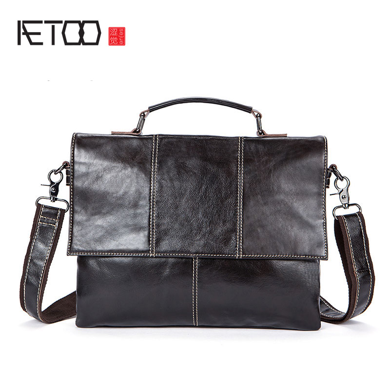 AETOO Autumn and winter new men bag double men leather shoulder bag Messenger bag retro leisure first layer leather bag qiaobao 2018 new korean version of the first layer of women s leather packet messenger bag female shoulder diagonal cross bag