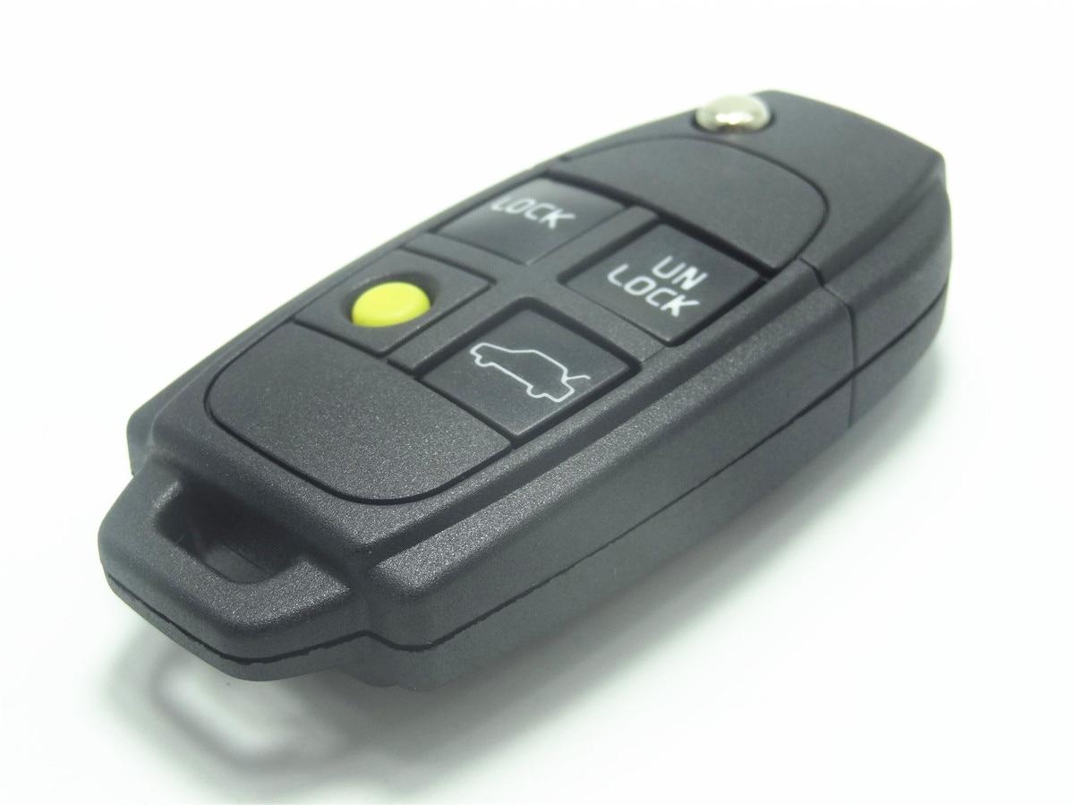 AUTEWODE Flip Key Shell For Volvo Keyless Remote S60 S80 V70 XC70 XC90 key (4 Button) free shipping remodeling flip remote key for subaru 3 button flip key shell 10pc lot