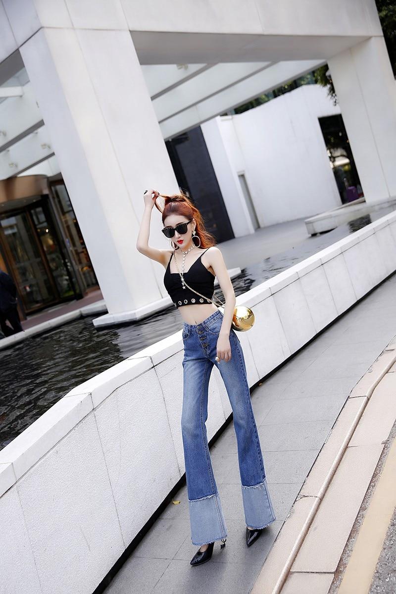 Single Gloria Cowboy Taille Femmes Évasée Femelle Femme Lavage Blanc Harajuku Mince Pantalon Haute Mode Jeans breasted qOtOxgSw