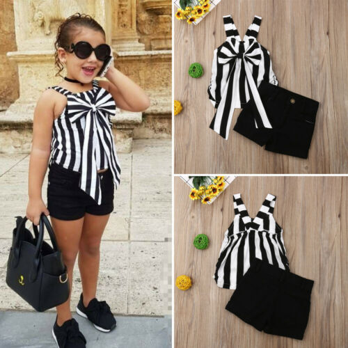 2PCS Child Toddler Kid Baby Girl Striped T-Shirt Tops+Jeans Pants Outfit Clothes