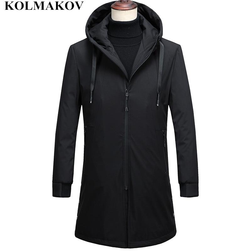 KOLMAKOV New Winter Outwear Men Brand Mens Long Duck   Down     Coat   Men's Thick Winter Jackets Duck   Down   Black Smart Casual Overcoats