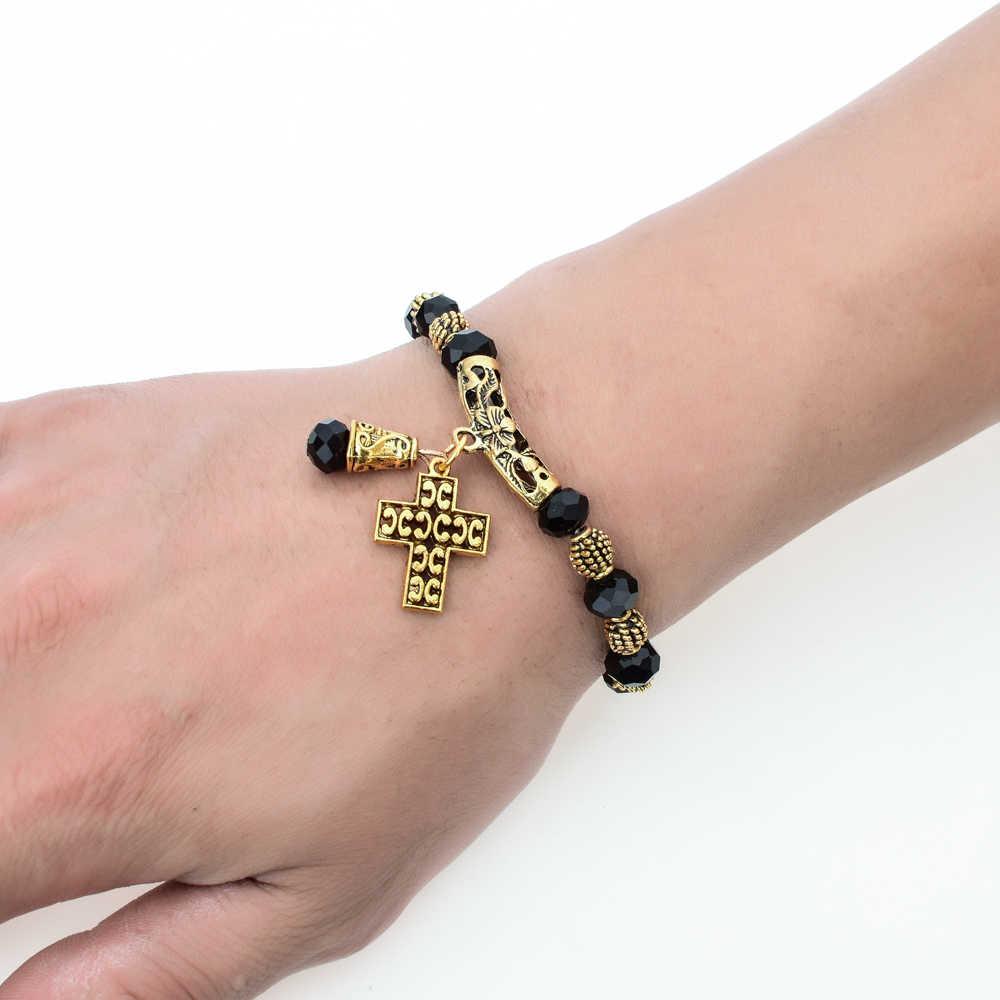 LUBINGSHINE דתי חרוזים צמיד אלסטי תכשיטי פאנק ישו צלב תליון צמידי צמידים לנשים בציר תכשיטים