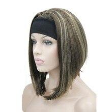 StrongBeauty Medium länge Natürliche Gerade 3/4 Perücken Schwarz/Blonde frauen Stirnband Perücke 10 Farbe