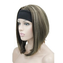 StrongBeauty Medium length Natural Straight 3/4 Wigs Black/Blonde Womens Headband Wig 10 Color