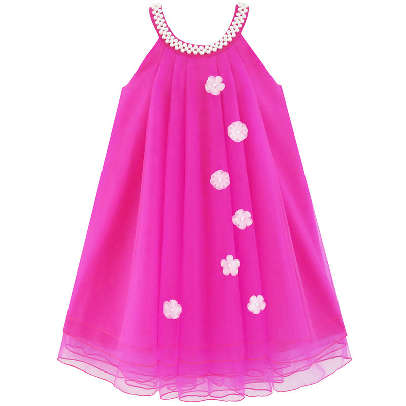 Sunny Fashion Flower Girls Dress Halter Dress Pearl Party Wedding Birthday 2017 Summer Princess Dresses Girl Clothes Size 4-14 купить