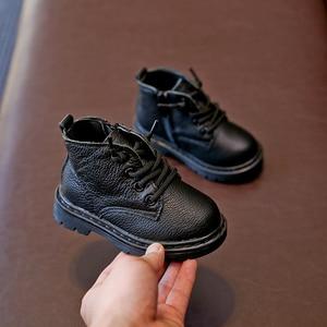 Image 2 - أحذية أطفال طويلة جلد طبيعي أحذية أطفال طويلة الرقبة الدانتيل متابعة الأطفال الثلوج الأحذية المخملية الدافئة الشتاء الأحذية