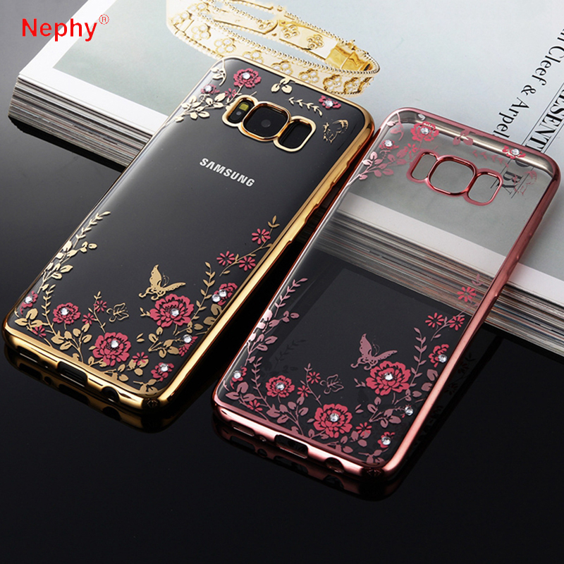 Nephy Flower Plating Diamond Case For Samsung Galaxy S9 S8 Plus S3 S4 S5 Neo S6 S7 Edge Cover Soft Origin Crystal Bling Casing