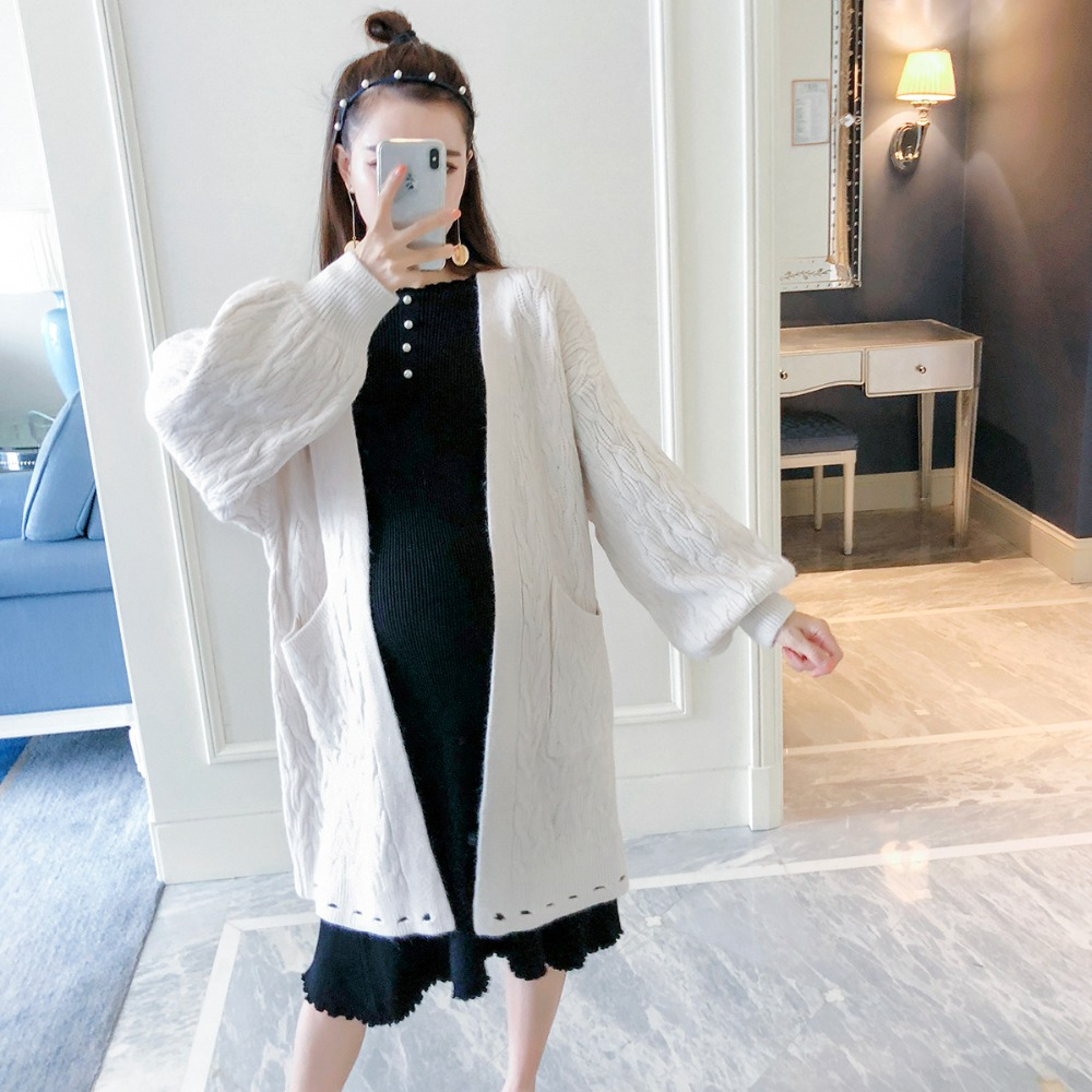 Pregnant women sweater 2018 autumn and winter new fashion loose maternity dress lantern sleeves twist in the long cardigan long sleeves layered swing sweater dress