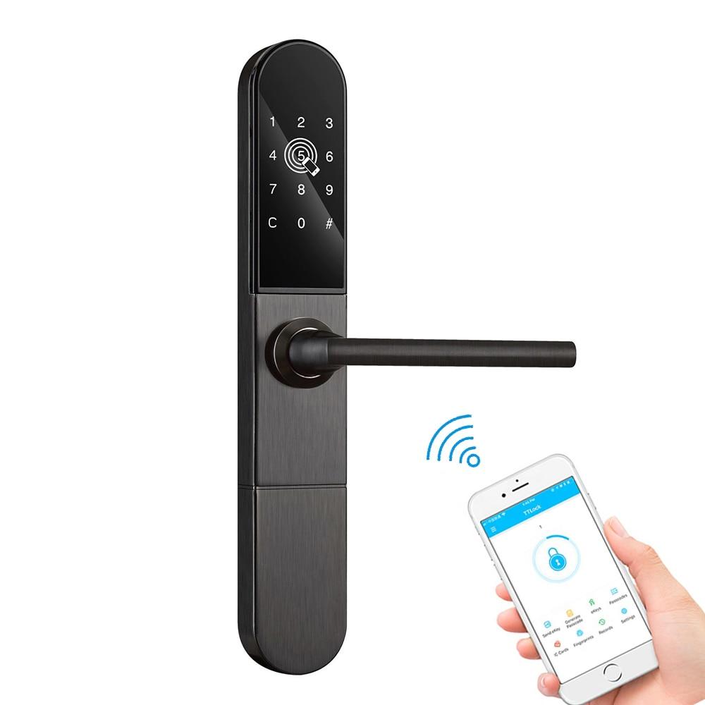 Serrure de porte intelligente en verre d'aluminium mince Wifi Bluetooth TTLock App RFID carte Code numérique serrure de porte électronique