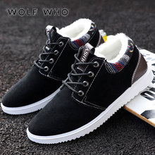 WOLF WHO New Winter Shoes Men Plush Warm Male sneakers Fur Inside Comfortable casual shoes Man Black Work Shoes buty meskie W040(China)