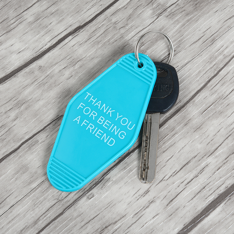 Acrylic Keychain BEING A FRIEND Teal Golden Girls Inspired Letters Keychain For Woman Car Bag Accessories