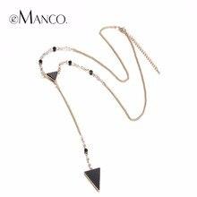EManco Chic Encanto Popular de Largo Collar de Cadena y Colgantes Del Triángulo para Las Mujeres Crystal Chapado En Oro de Joyería de Moda
