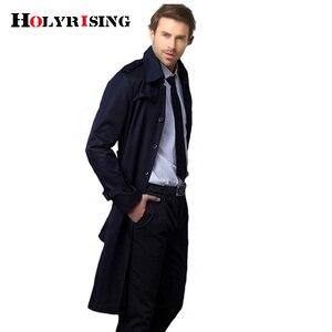 Image 3 - Holyrising Masculino מזדמן גברים מעיל גשם מעייל הדק ארוך מעייל כפתור אחת גודל נוח S 9XL שובר רוח 18360 5