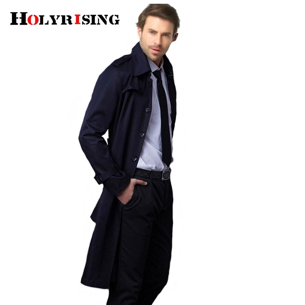 Holyrising wykop płaszcz mężczyźni na co dzień Masculino płaszcz Slim długi Greatcoat jednego przycisku Windbreak wygodne rozmiar S 9XL 18360 5 w Trencze od Odzież męska na  Grupa 3