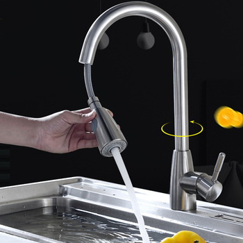 Kitchen Faucet Pull-Down Sprayer Head Noise Reduction 2 Modes Single Hole Mixer Tap Drop shipping