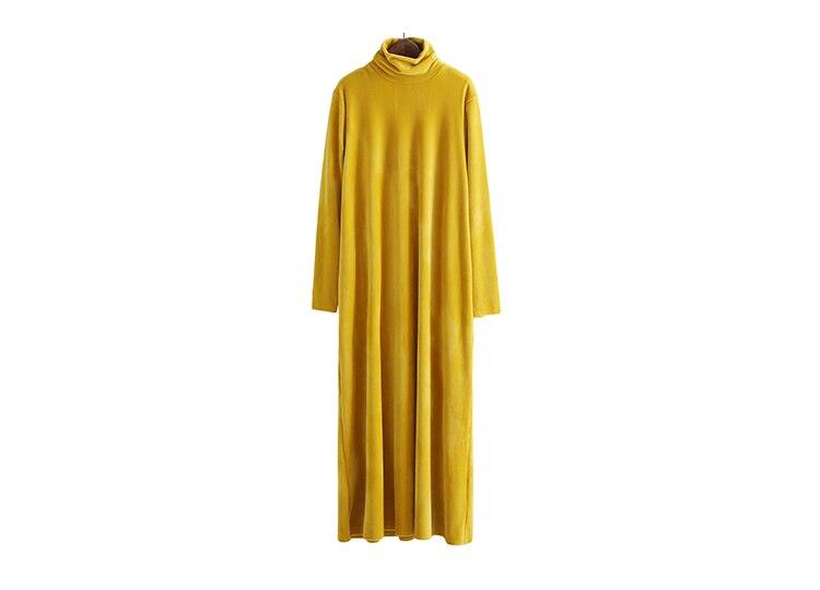2018 Terciopelo Larga Vestidos to Casual Vintage Dark Alto Gladself Maxi Mujeres Diseñador Manga Blue Vestido Moda amarillo Cuello Elegante De qxvR6wvEC