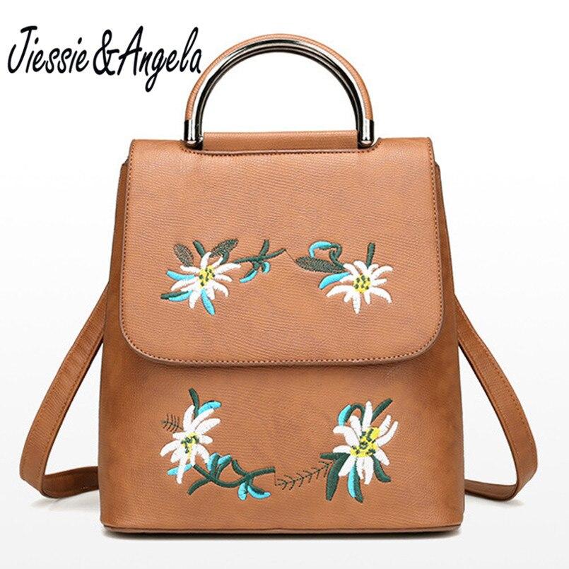 Jiessie Angela Fashion Embroidery Flower Bag Teenage Girls Backpack High Quality Leather Backpack Women Bag Mochilas