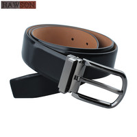 Hot Sale First Head Mens Cow Leather Designer Belts Shinny Black Formal Male Cowhide Belt With