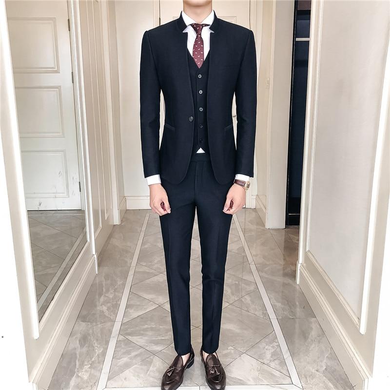 Marino Negro Traje Color Chino Negocios Casual Pantalones traje Sólido De  Los Alta Chaquetas azul juventud Moda Delgado Chaleco Hombres ... 6dd7f0b5b34