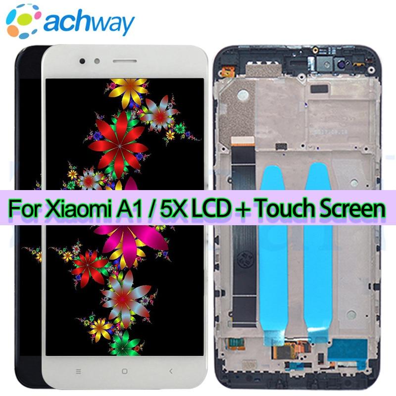 Originale Xiao mi mi A1 display LCD Con CORNICE dello Schermo Di Tocco dello Schermo Del Pannello per Xiao Mi Mi 5X display lcd digitizer di Riparazione Pezzi di Ricambio