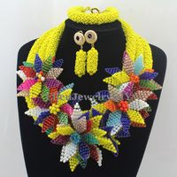 Surprising Yellow African beads Jewelry Sets nigerian Wedding Crystal Beads Jewelry Sets Indian Bridal Jewelry Sets W12898