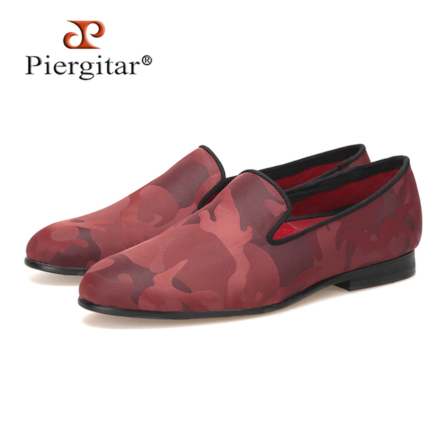 Piergitar new handmade mix red color camouflage fabric shoes female casual  slippers dress and Party women loafers women flats 83efcb10547b