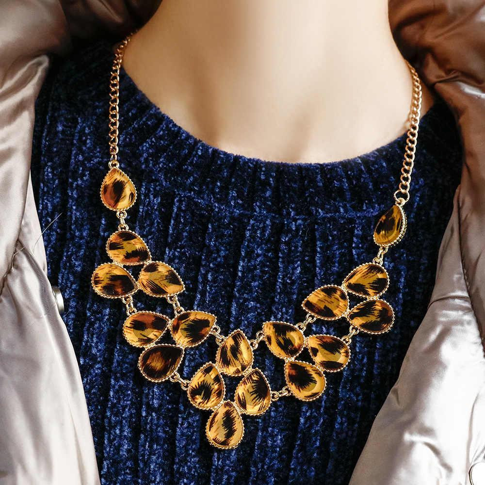 2019 แฟชั่น Power Gold Chain Statement สร้อยคอและจี้ Vintage Leopard Drop ลูกปัดสร้อยคอ Choker สำหรับผู้หญิงเครื่องประดับ