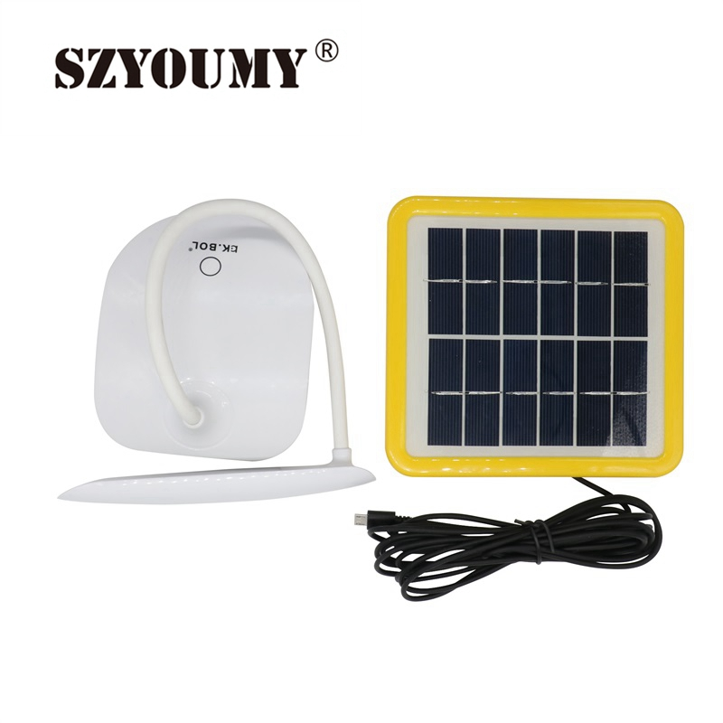 SZYOUMY Solar Powered LED Desk Lamp Adjustable Touch Sensor Rechargeable Reading Light With USB Solar Panel For Outdoor Reading