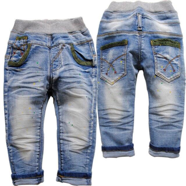 3891 краска пятно мягкой джинсовой мальчик джинсы детские gilr брюки синие брюки повседневные брюки дети новый не выцветают мальчики упругие детей