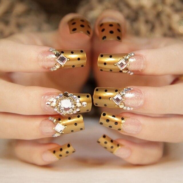 1 Set 24 Pieces Flat Top Nail Art Design Nails Gold Clear Flat Top