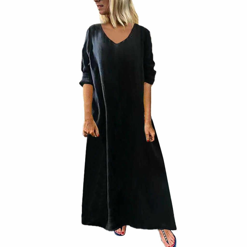 Feitong נשים גבירותיי סקסי מוצק שרוול ארוך V-צוואר באורך קרסול שמלת robe soiree femmerobe ceremonie femme גבירות kleding