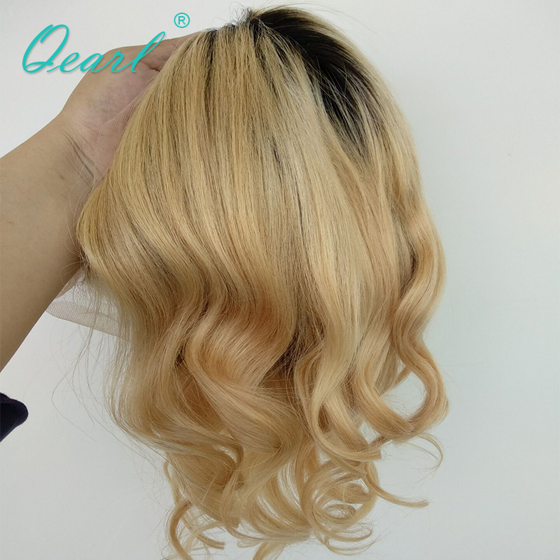Qearl Full Lace парики темные корни Ombre реальных человеческих волос парик средней части блондинка с ребенком волос для Для женщин высокое качество...