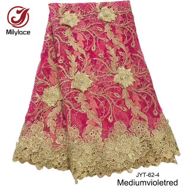 Fushi pink french lace fabric with stones 5 yards per lot tulle lace fabric  wedding dress a7570635dfa2