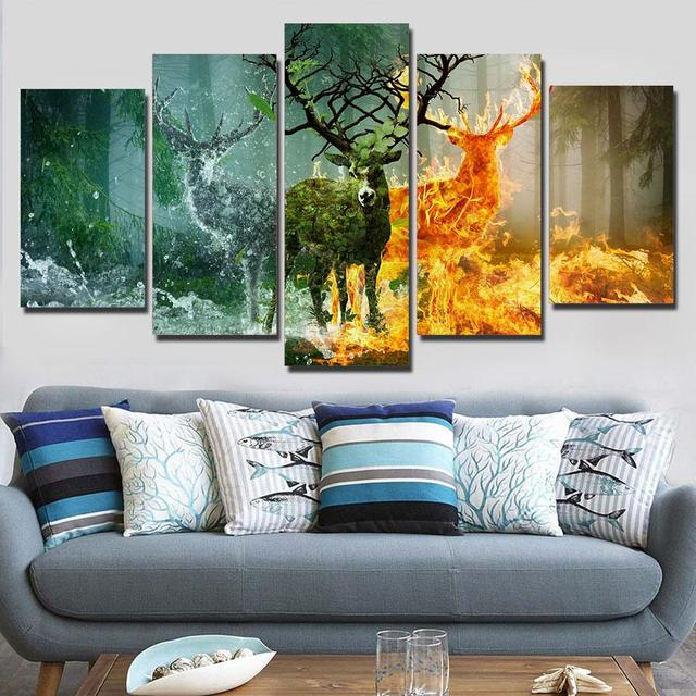 Panel Wall Art Canvas Paintings Abstract Art Deer Canvas Painting Nature Forest Fire Elk Wall