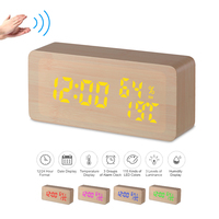Digital Alarm Clock LED Wooden Alarm Clock 115 Colored Table Clock Adjustable Brightness Voice Control Snooze Function Time Date